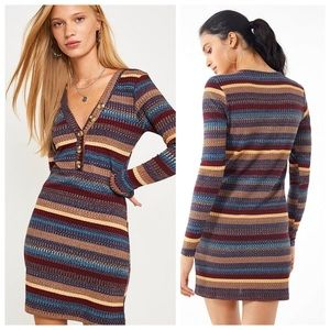 NWT UO Striped Lightweight Sweater Henley Dress